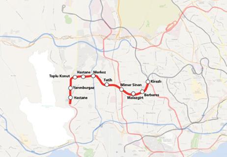 Kirazli Halkalı Metro Line map