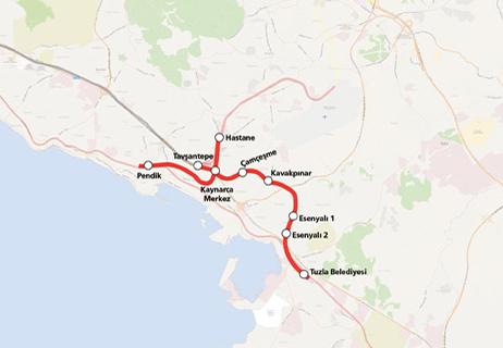 Tavşantepe Tuzla Metro Line Extension map