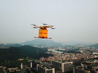 expédition de marchandises par le drone gin lancé DHL