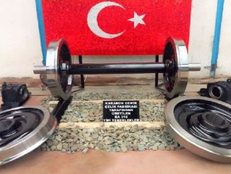 railway wheel produced by Kardemir is on display in Tudemsas