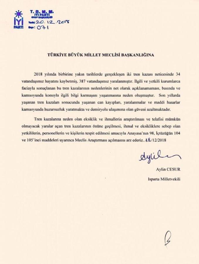 AKP and MHP Reject to Proposal to Investigate Train Accidents