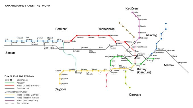 Карта залізничної системи в Анкарі