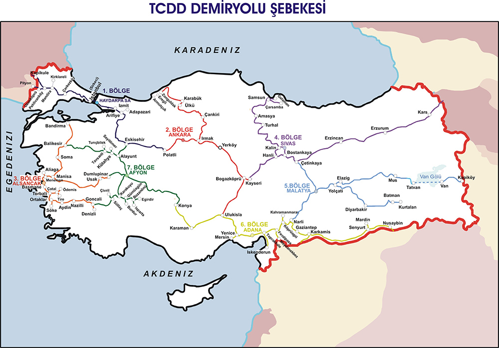 TCDD Railway Network Map