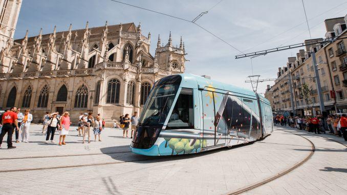 new tram system in caen la merin in france