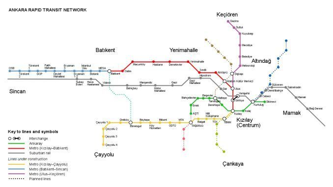 Ankara rail system map