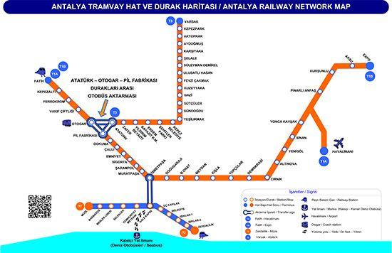 Карта на железопътната система в Анталия