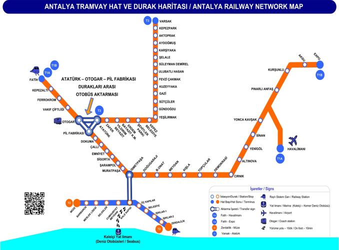 Mapa del tramvia d'Antalya