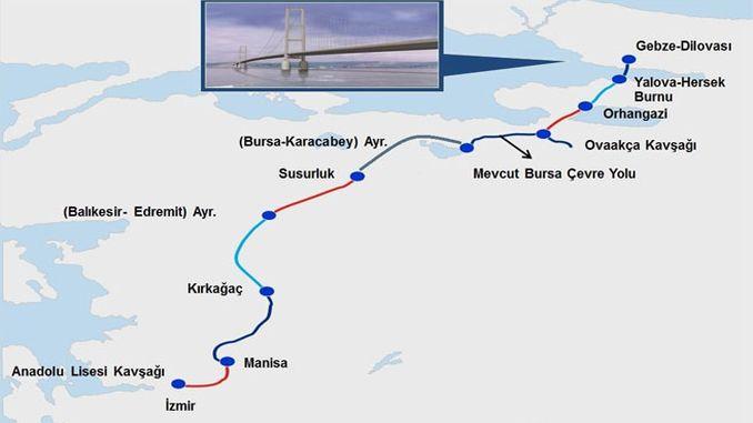 istanbul izmir greitkelio žemėlapis