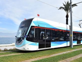 tram arrives to cigli district of izmir