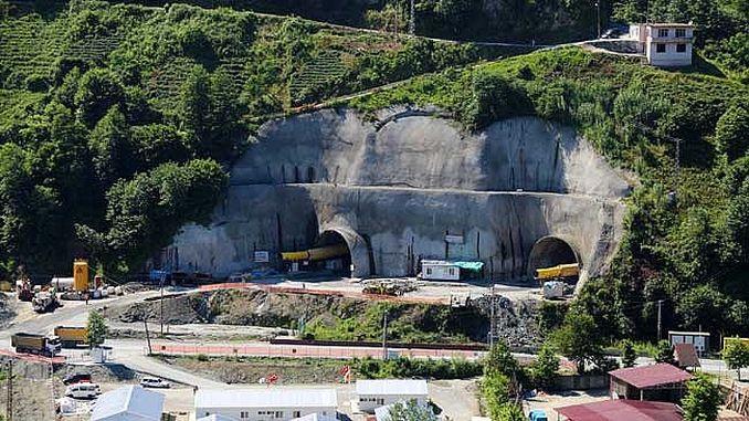 сломанный тоннель, чтобы уменьшить расстояние между rize erzurum