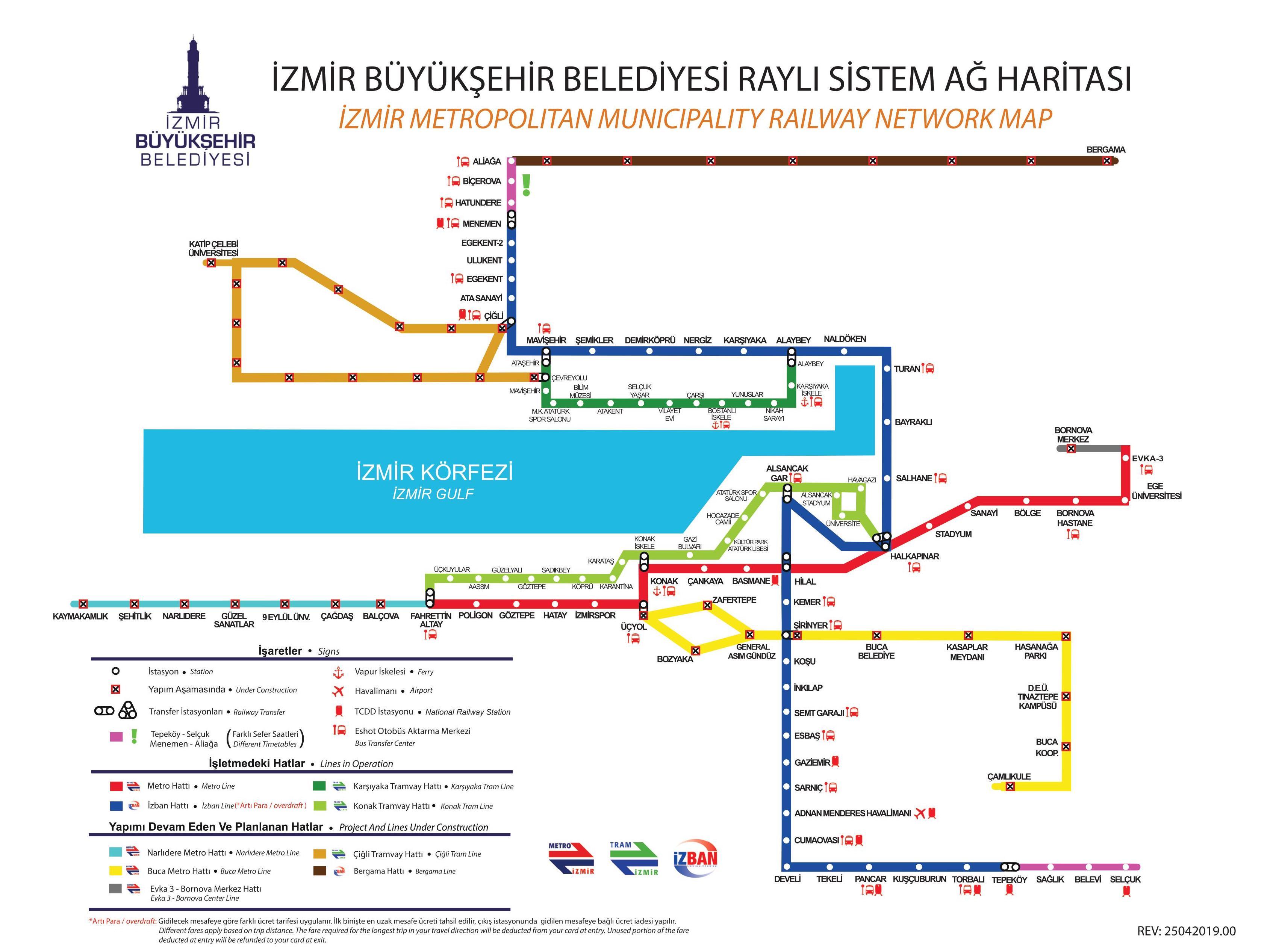 Izmir Metro Tram and IZBAN Map
