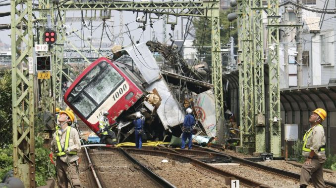 truck injured in japan by train train