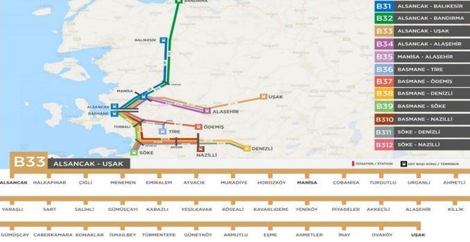 zmir Usak Train route
