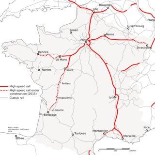 Karta vlaka velike brzine u Francuskoj