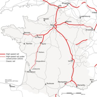 High-speed train map of France