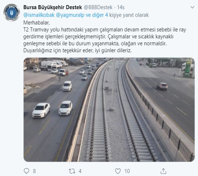 rails of the terminal tram line in the scholarship was the subject of social media