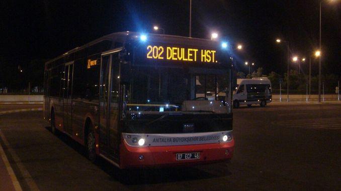 ანტალიის ღამის ავტობუსის მომსახურების დრო გადაკეთდა