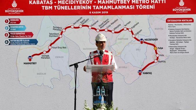 ekrem imamoglu kabatas က mahmutbey metro line ၏အရေးပေါ်နေ့ကိုရှင်းပြခဲ့သည်