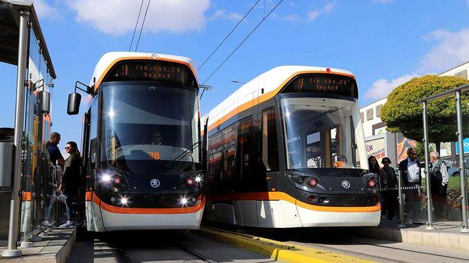 barabara katika Eskisehir kutokana na tram truss inafanya kazi