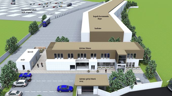 Bursa Yediemin-Parkplätze und -Lagerhallen versammeln sich in einem Zentrum