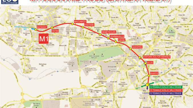 Ankara Batikent Metro Map Route and Ticket Prices