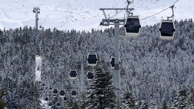 severe wind impediment to the ski lifts of uludag