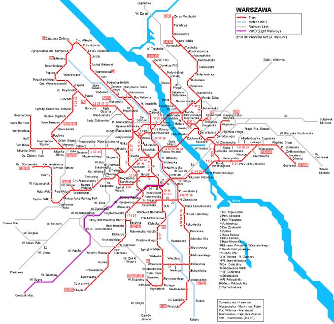 varsova tram map