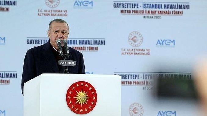 erdogan gayrettepe istanbul Fluchhafen Metro Projet bënnt déi éischt Schinnressource zou