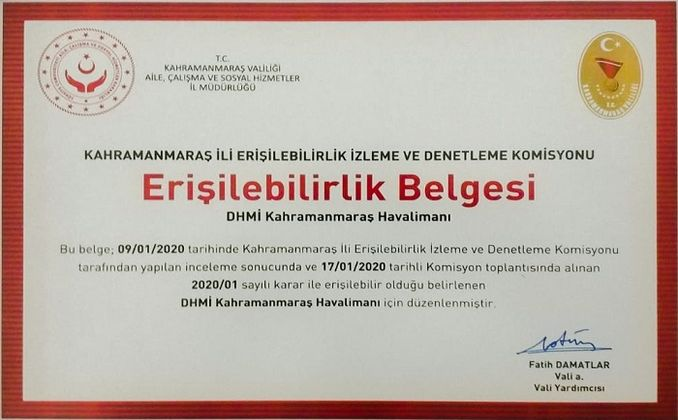 Kahramanmaras airport accessibility certificate