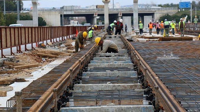rails are filed on antalya lap rail system line