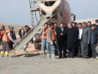 President Beyazgul examined the ongoing concrete road works