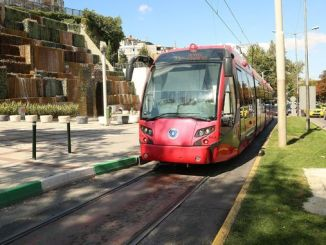 Bursa town square sculpture tram line gun closed