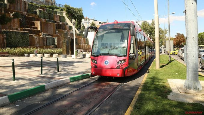 Bursa town square sculpture tram line gun closed