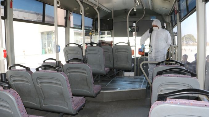 manisa big city disinfects public transportation vehicles