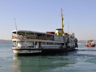 historic pasabahce ferry is being taken to renew