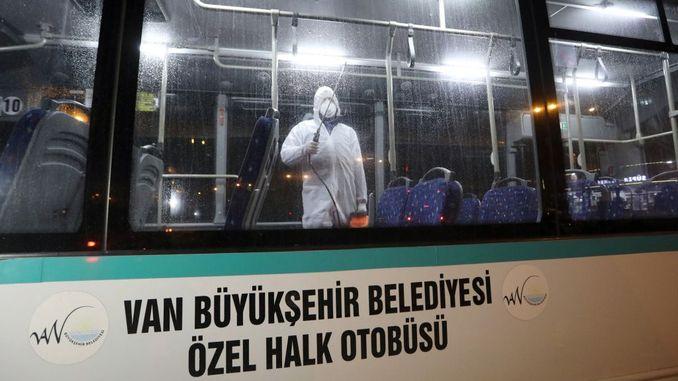 van public transportation vehicles are disinfected against viruses