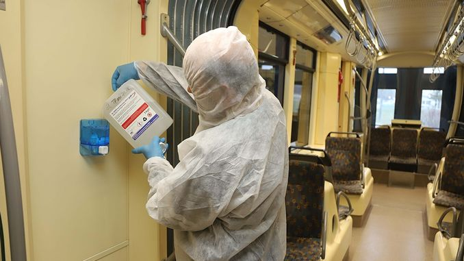 Disinfectants are Installed on Tram and Bus in Eskisehir