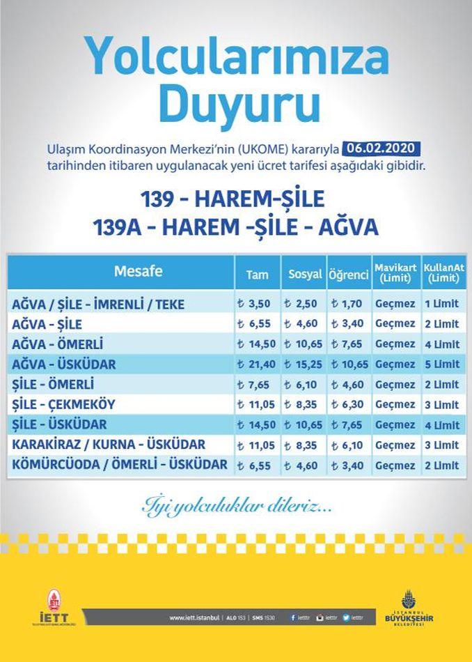 Harem Şile Ağva bus schedule