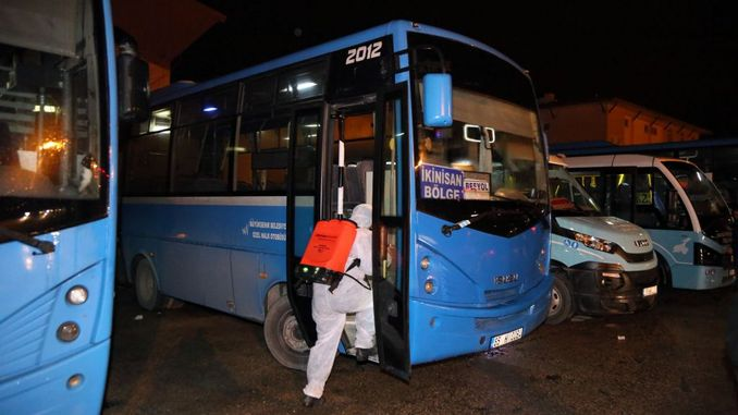 Mass Transportation Vehicles were Disinfected in Van once