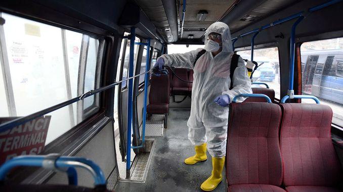 baskentte taksi ve dolmuslar dezenfekte ediliyor
