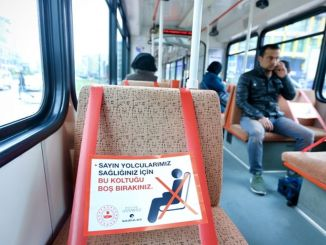 social distance to buses and trams against gazrona in gaziantep