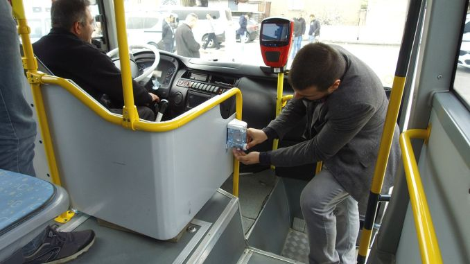 Disinfectant device attached to the public transportation vehicles in Kahramanmaras
