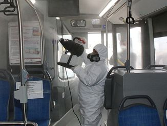 disinfected to public transportation vehicles in Antalya
