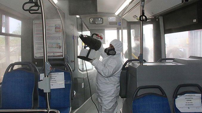 antalyada toplu ulasim araclarina dezenfekte