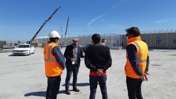 Ataturk airport field hospital construction works continue at a great speed