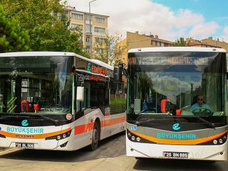 Groene band-applicatie op bussen in Eskisehir
