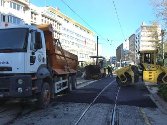 Asphalt work was carried out in tram nights in Eskisehir