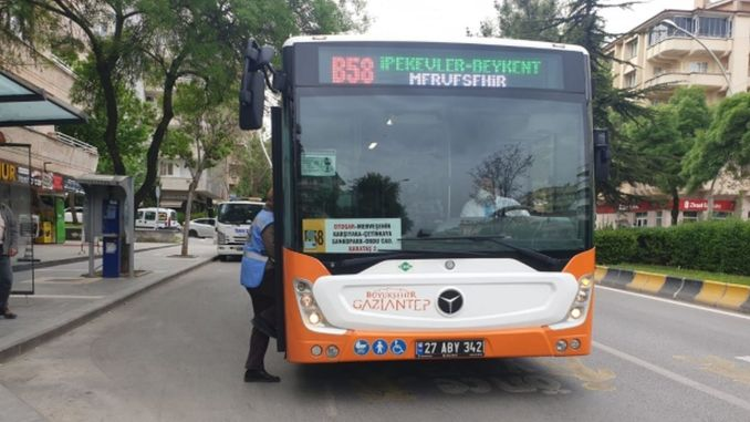 gaziantep large city has intensified corona inspections in public transportation