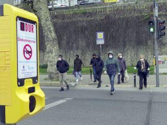 Contactless pedestrian button against cob virus virus