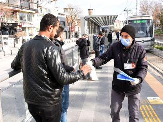 konya large city distributed masks to passengers using public transportation